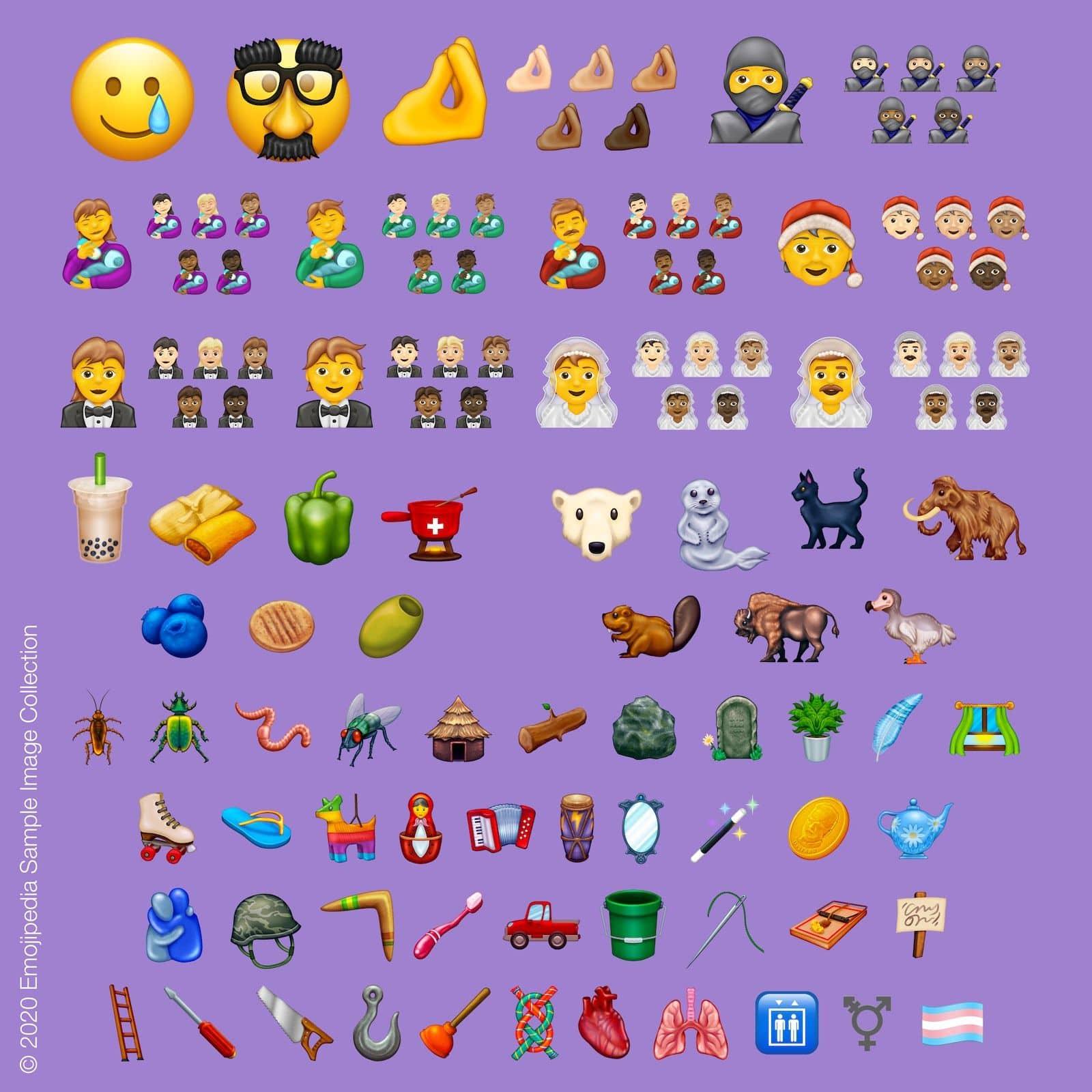 Illustration af emojis, der frigives i 2020, billede lånt fra Emojipedia.org (© Emojipedia).