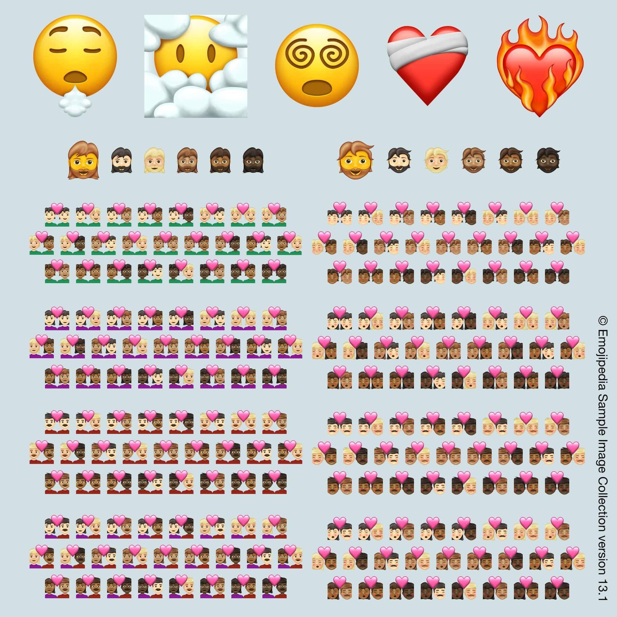 Illustration af emojierne, der kommer i 2021, er billedet lånt fra Emojipedia.org (© Emojipedia).